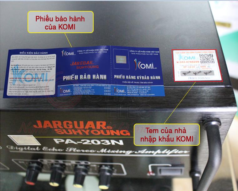 Giá Amply Jarguar 203N komi xịn tại Bảo Châu Elec