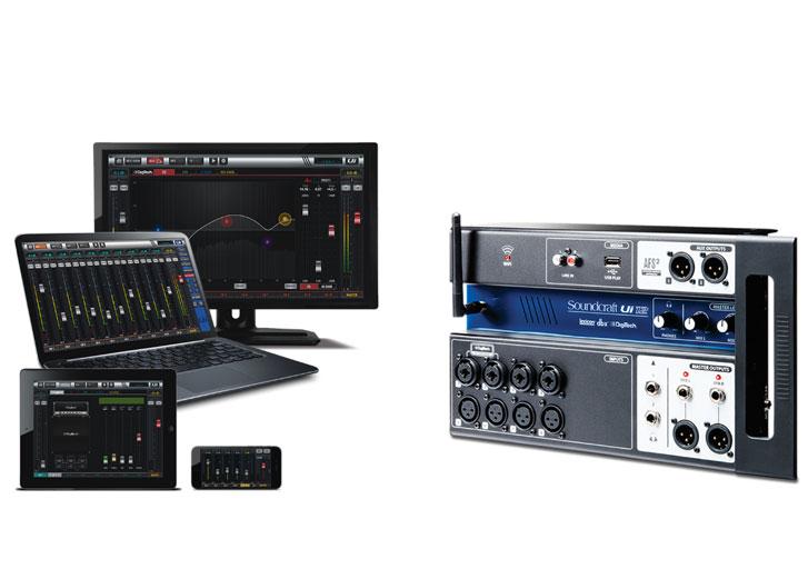 Mixer digital Soundcraft Ui12 tương tích nhiều thiết bị cùng lúc