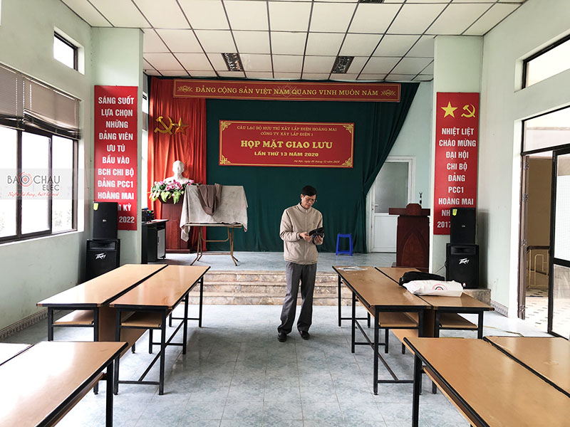Lắp đặt hệ thống âm thanh hội trường Công ty TNHH MTV Xây lắp điện 1 tại Hoàng Mai – Hà Nội