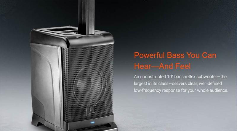 loa JBL EON ONE hoạt động với loa bass 25 cm