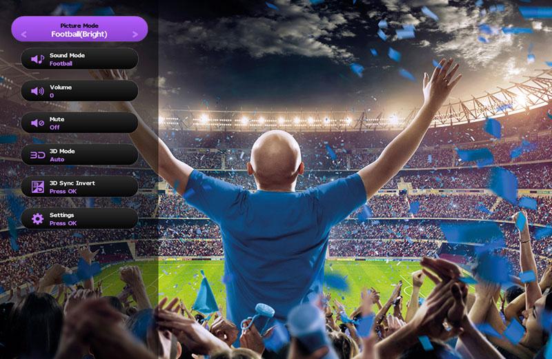 Máy chiếu BenQ TH683 trang bị chế độ Football Picture và Football Sound