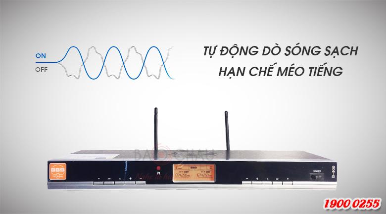 Micro không dây BBS B900 có thể tự dò sóng sạch hạn chế méo tiếng