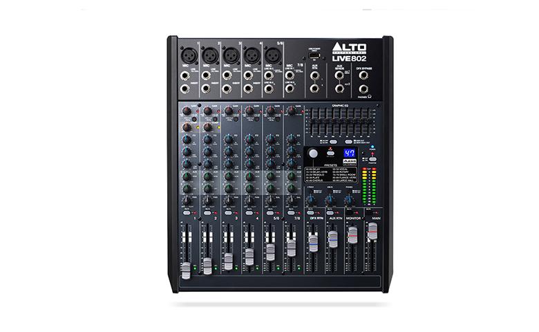 Bàn mixer Alto Live 802 hiển thị mã màu chi tiết