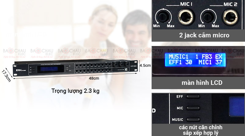 Vang số chỉnh cơ Bksound DSP-9000 (Black) thiết kế nhỏ gọn