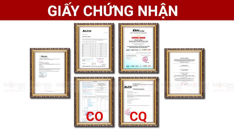 Giấy chứng nhận nhập khẩu CO, CQ của hãng Alto