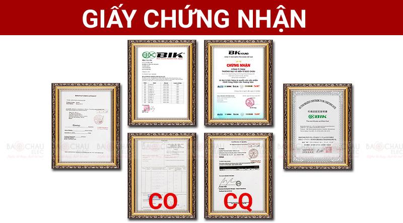 Giấy chứng nhận nhập khẩu CO, CQ của hãng BIK