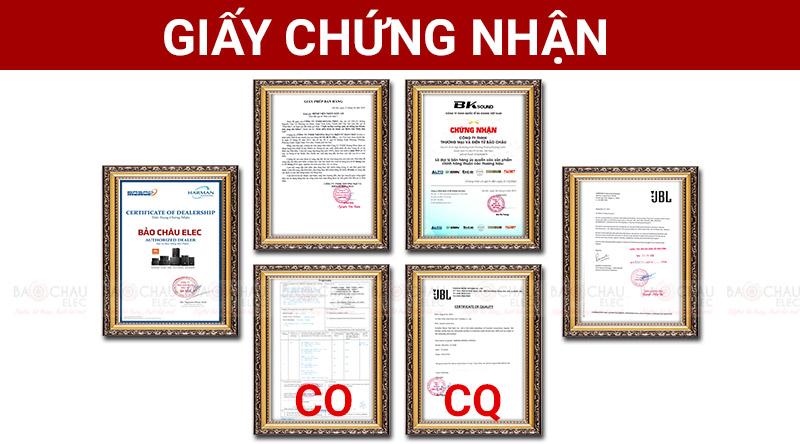 Giấy chứng nhận nhập khẩu CO, CQ của hãng JBL