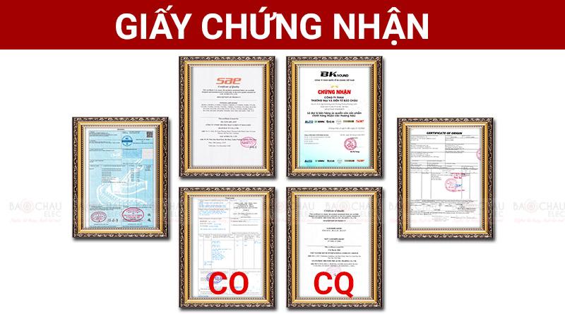 Giấy chứng nhận nhập khẩu CO, CQ của hãng SAE