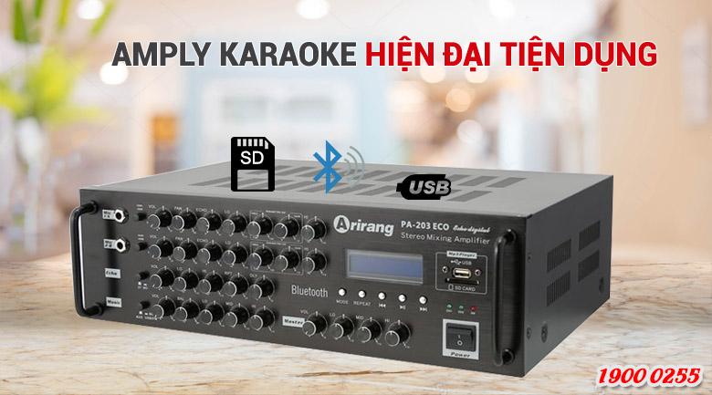 Amply karaoke Arirang PA-203ECO  tích hợp mạch lọc PARAMETRIC EQ chỉnh độ lợi - băng thông tiếng hát giúp âm sắc hài hòa và chống hú tốt