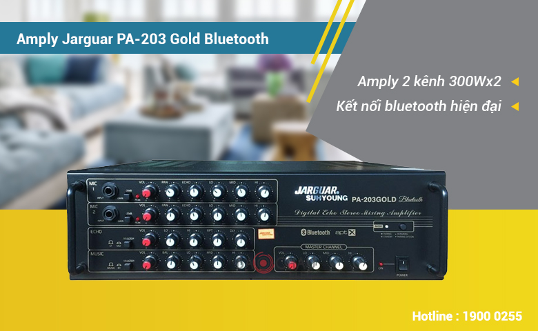 Amply karaoke Jarguar PA-203 Gold Bluetooth