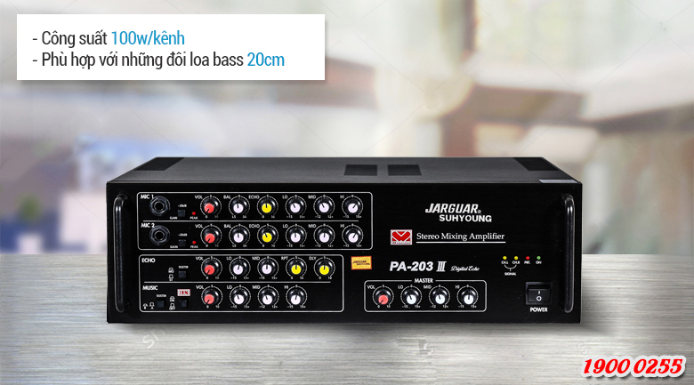 Amply karaoke Jarguar PA 203III phù hợp để kéo các cặp loa bass 20cm