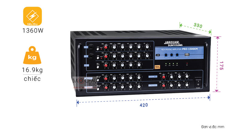 Amply karaoke jarguar Suhyoung Pro 1506KM được trang bị công nghệ Echo Pro cao cấp