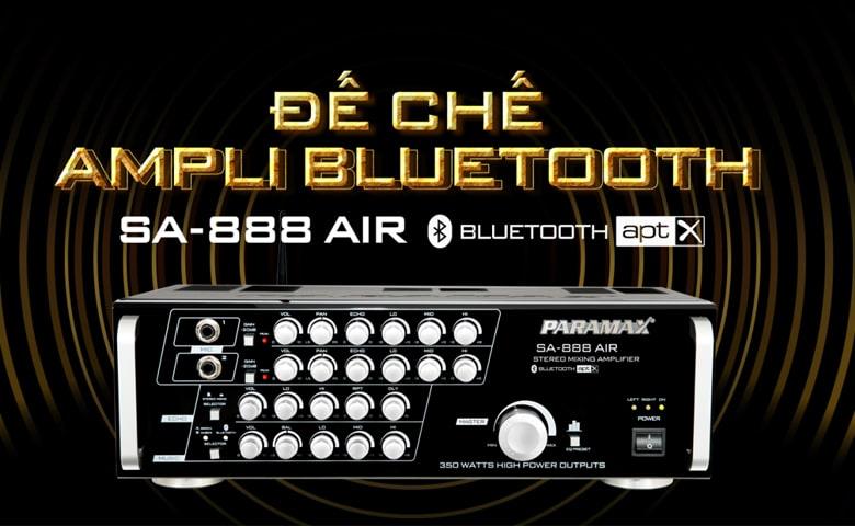 Amply karaoke Paramax SA 888 AIR New sử dụng công nghệ triệt tiêu tạp âm giúp âm thanh phát ra không hề bị hú, rè tiếng