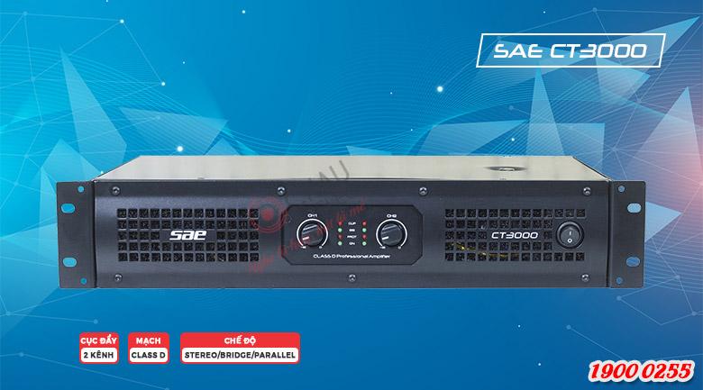Cục đẩy công suất SAE CT3000 là bộ khuếch đại 2 kênh công suất lớn