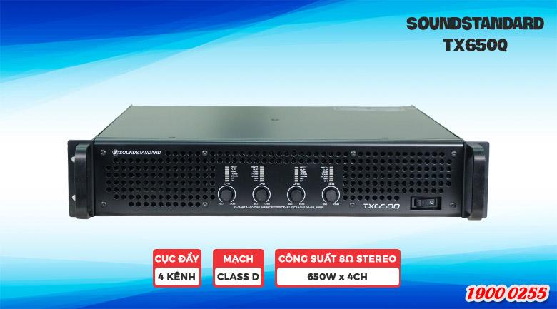 Cục đẩy công suấtSoundStandard TX650Q thiết kế gồm 4 kênh