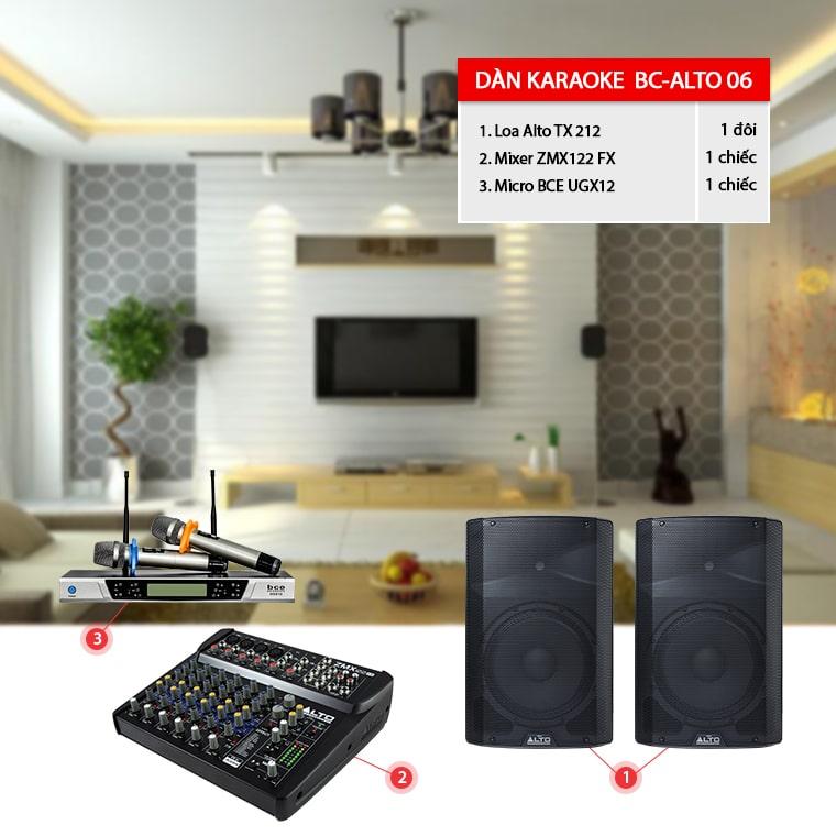 Dàn karaoke gia đình BC-ALTO 06 sử dụng loa liền công suất tiện lợi