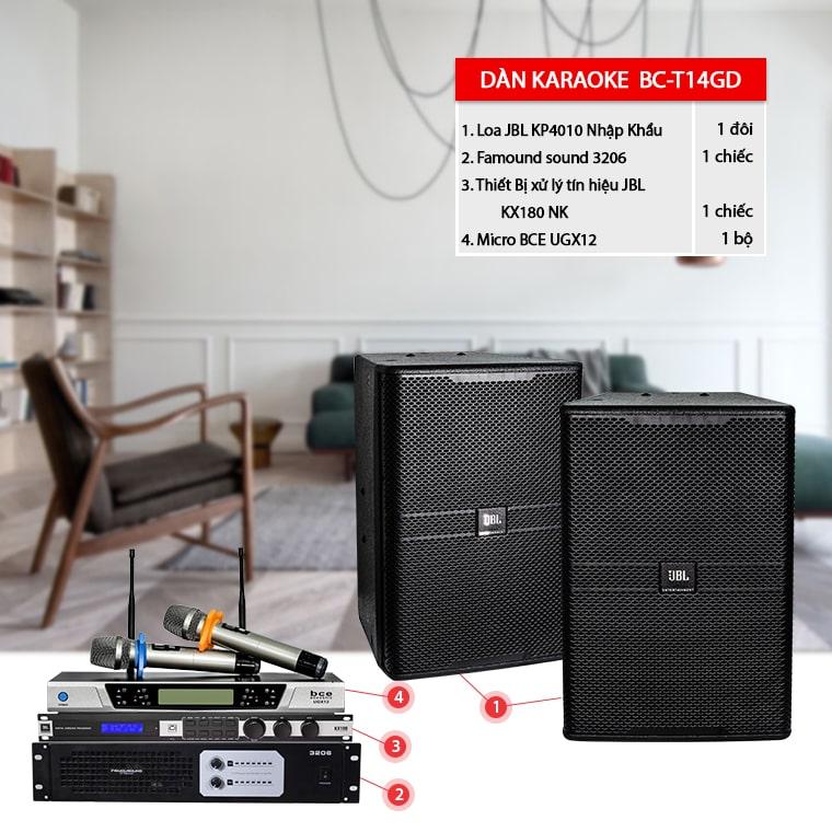 Dàn karaoke gia đình BC-T14GD phối ghép từ các thiết bị âm thanh chính hãng