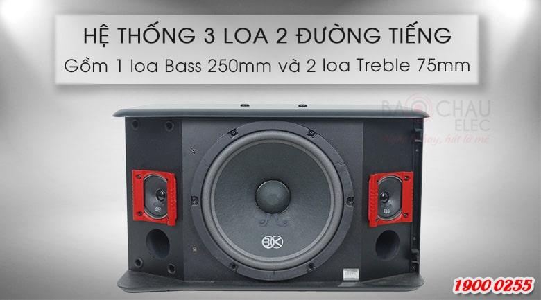 Loa karaoke BIK BJ S886II có cấu trúc 3 loa, 2 đường tiếng