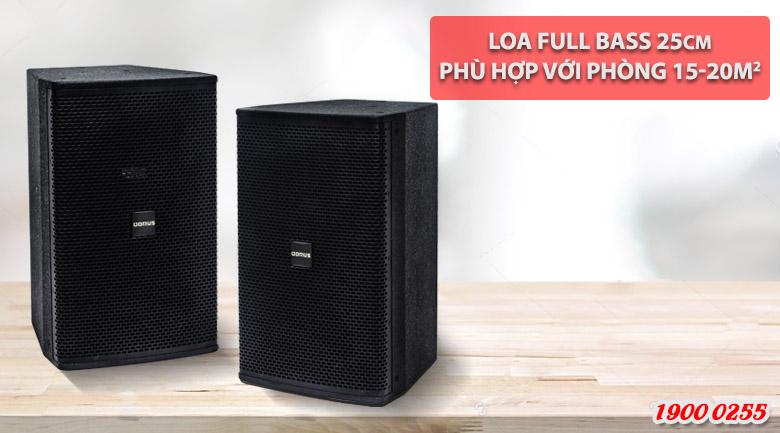 Loa karaoke Domus DP 6100 cấu tạo gồm 2 củ loa, cho 2 đường tiếng tách bạch