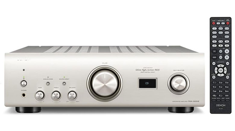 Amply Denon PMA 1600NE mang kiểu dáng sang trọng, màu trắng bạc thanh lịch