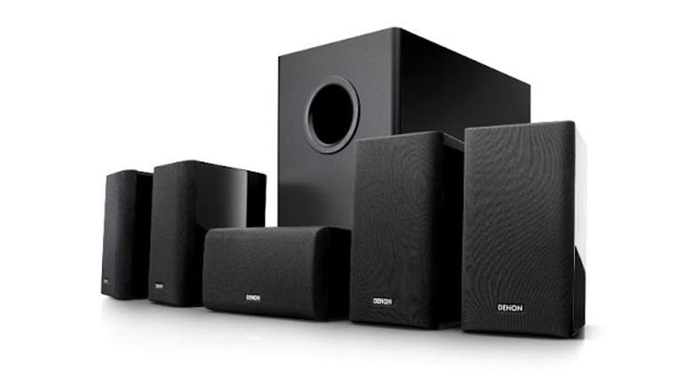 Dàn âm thanh mini Denon SYS 5.1phù hợp với không gian phòng nghe nhạc hoặc xem phim có diện tích khoảng 10 - 12m2