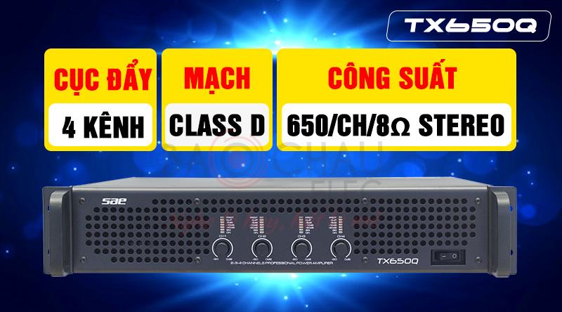 Cục đẩy công suất SAE TX650Q 4 kênh giá rẻ