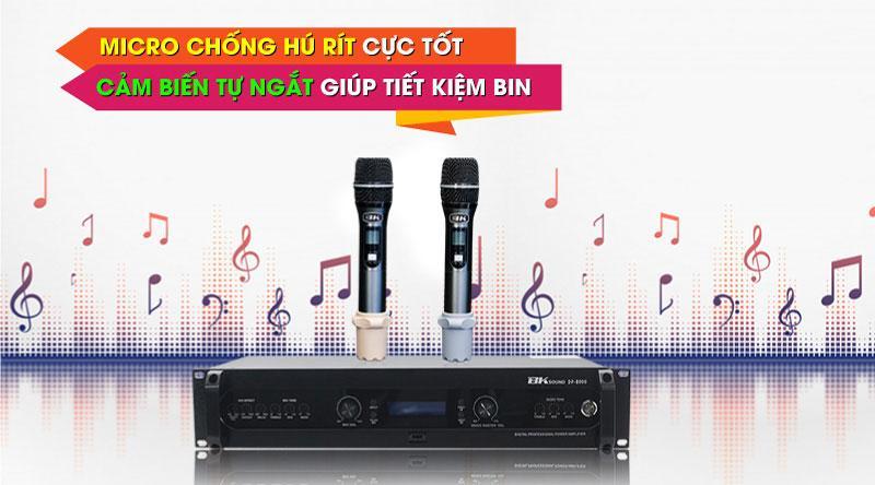 Đẩy liền vang kèm micro không dây BKSound DP8000 hát cực nhạy