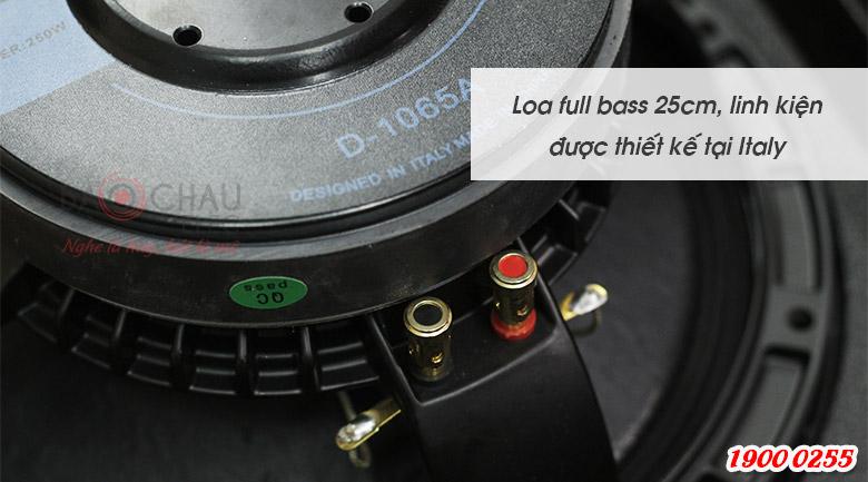 Hệ thống loa 2 đường tiếng, 2 loa, củ bass 25cm, loa treble 3.8cm có khả năng tái tạo đầy đủ