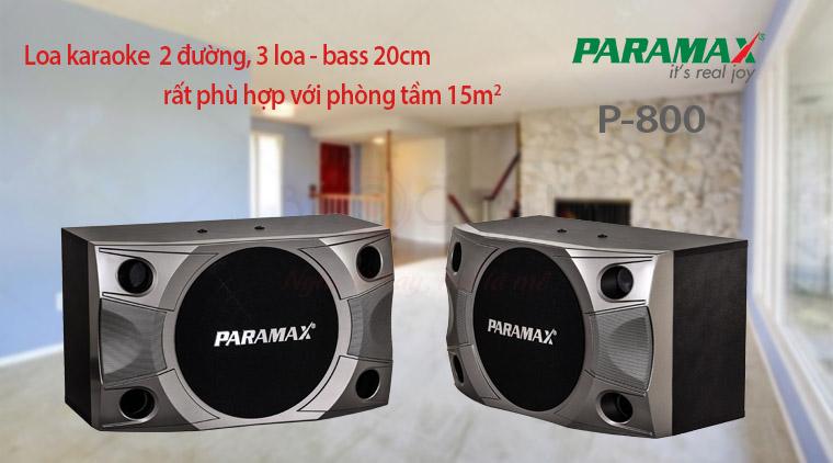 Loa karaoke Paramax P800 sử dụng cho phòng 15-20m