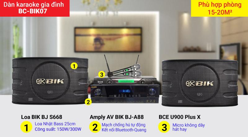Dàn karaoke gia đình BC-BIK07 cấu hình hiện đại, chính hãng