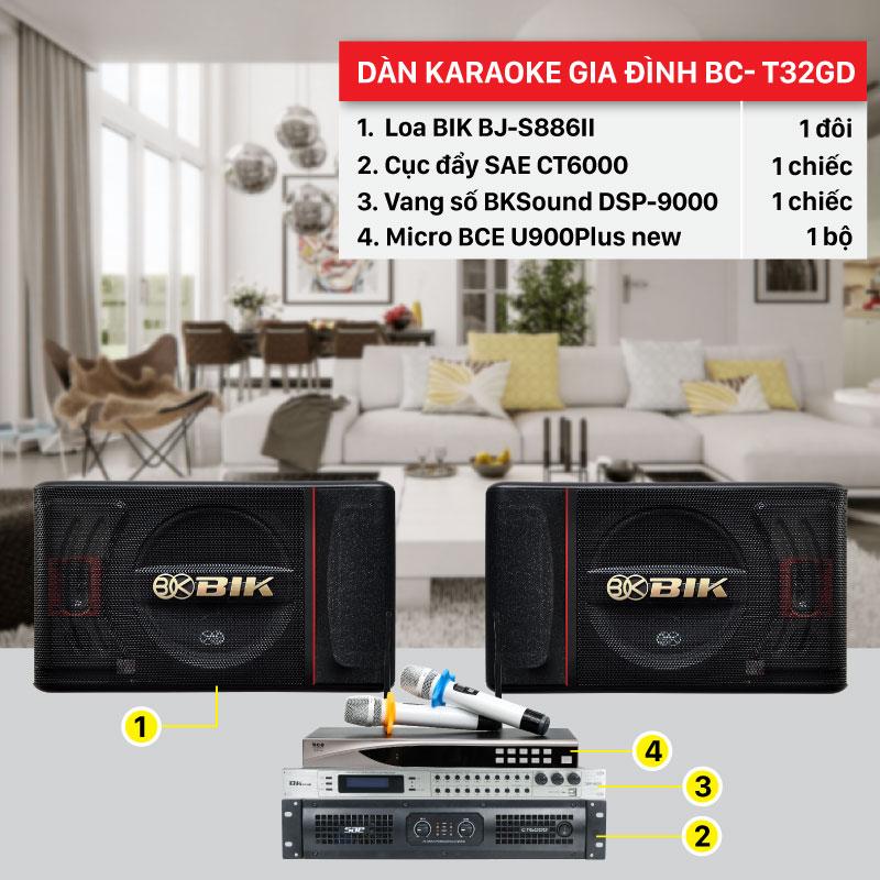 Dàn karaoke gia đình BC-T32GD hát hay, giá rẻ