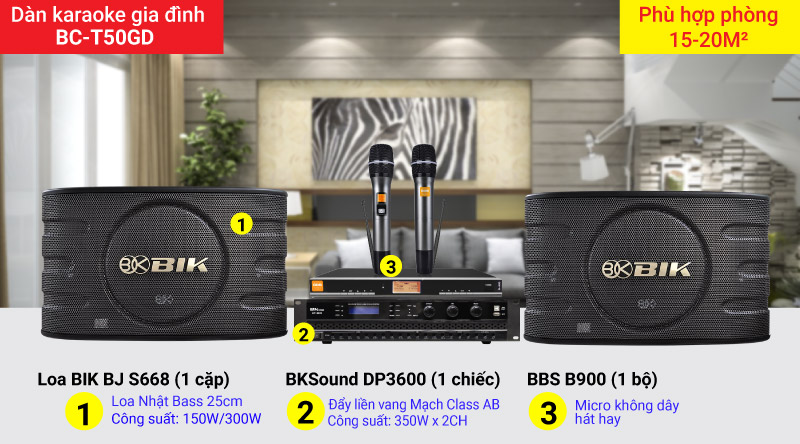 Dàn karaoke gia đình BC-T50GD chính hãng, cấu hình hiện đại