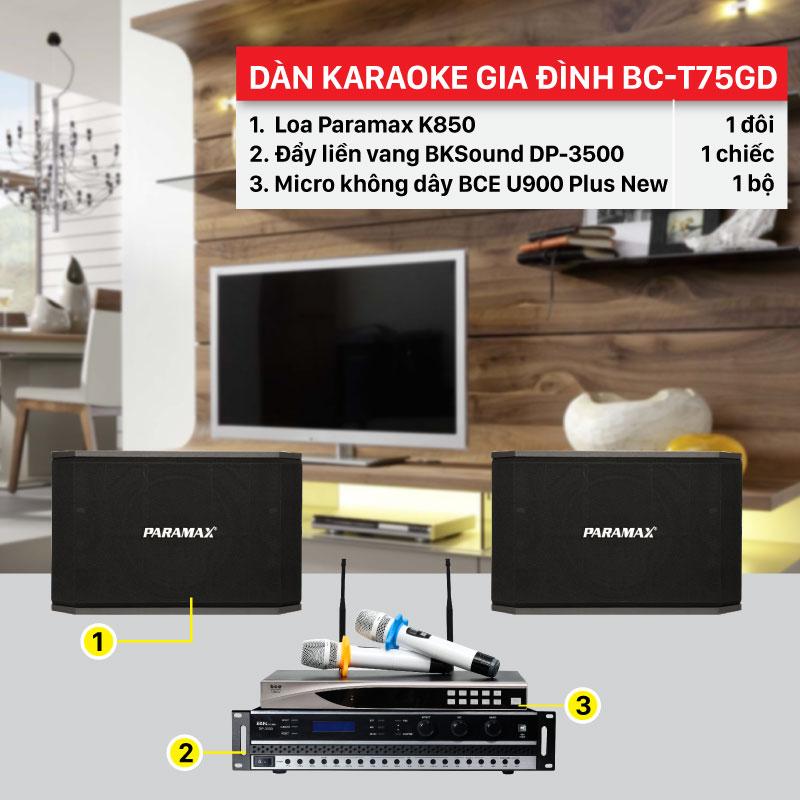 Dàn karaoke gia đình BC-T75GD cấu hình hiện đại, giá rẻ nhất thị trường