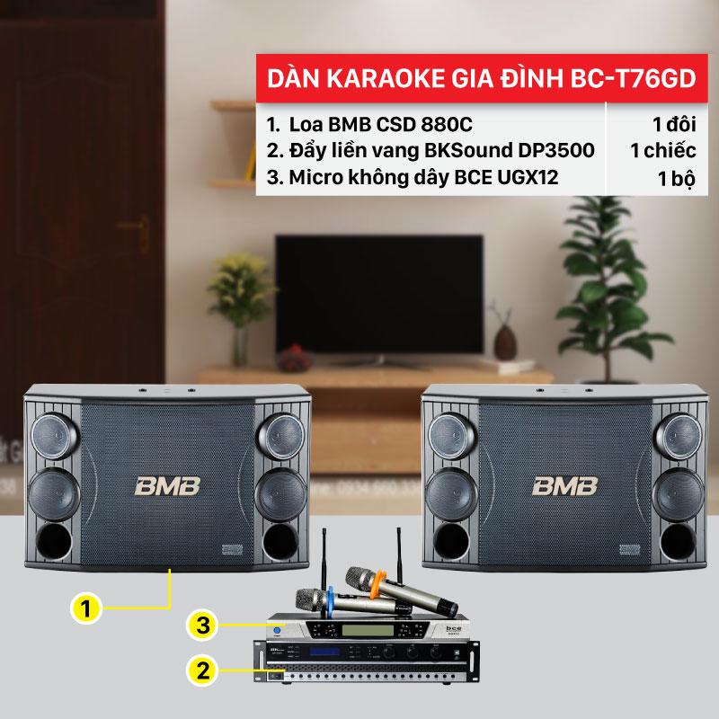 Dàn karaoke gia đình BC-T76GD chính hãng, giá rẻ nhất thị trường