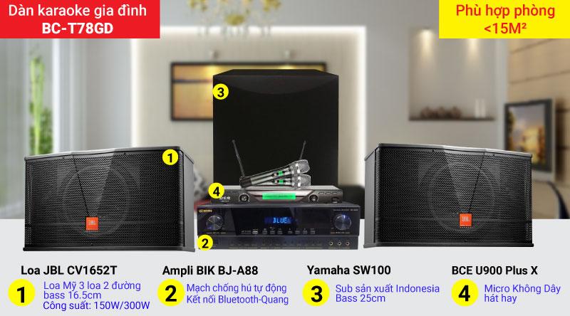 Dàn karaoke gia đình BC-T78GD cấu hình hiện đại