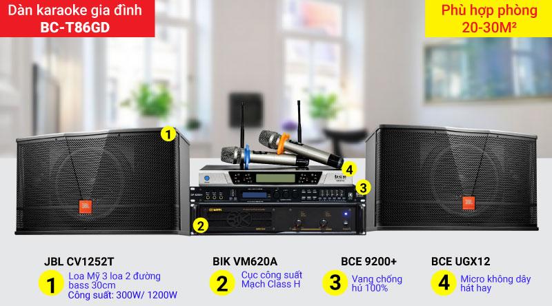 Dàn karaoke gia đình BC-T86GD thiết bị chính hãng, giá rẻ
