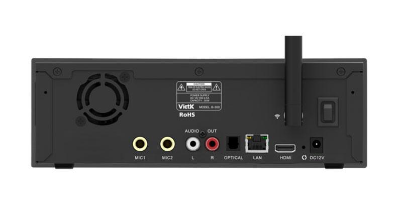 Mặt sau Đầu karaoke VietK B-300 với hệ thống cổng kết nối