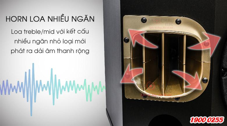 Horn (họng) của củ loa treble và trung ởloa karaoke BMB CSV 900SE được chi thành các ngăn nhỏ với hướng ra khác nhau