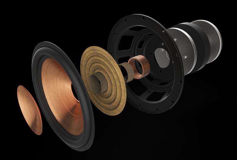 Loa Klipsch RP-4000F sử dụng màng loa bass phủ đồng