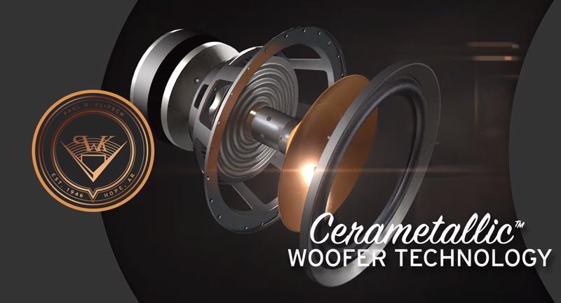 Loa sub Klipsch SPL-120 có loa Bass màng Cerametallic™ phủ Copper
