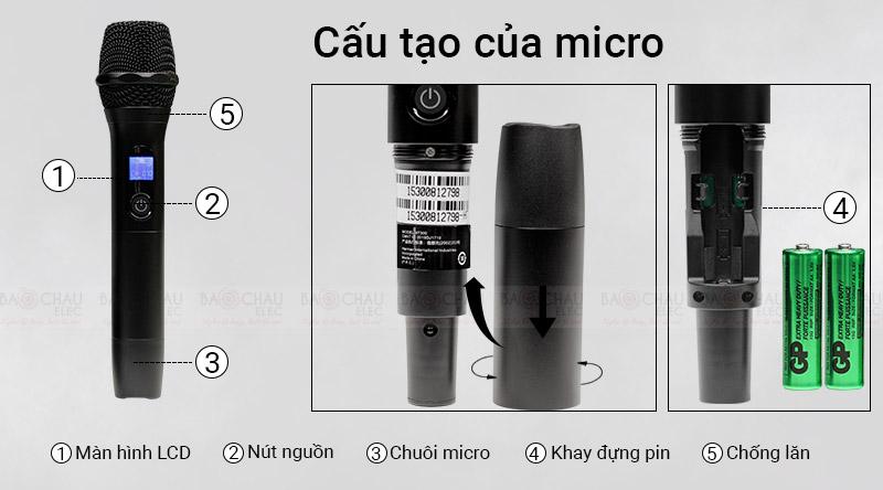 Micro không dây JBL VM300 tay cầm chắc chắn, hiện đại