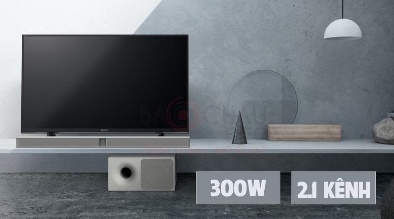 Hệ thống âm thanh 2.1 kênh Sony HT-CT290 có mứctổng công suất đạt tới300 W mạnh mẽ
