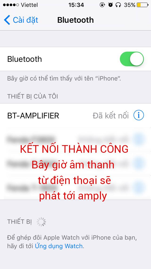 Kết nối điện thoại với amply thông qua bluetooth