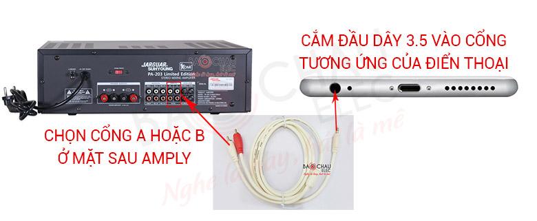 Cách kết nối dây AV-3.5 với điện thoại