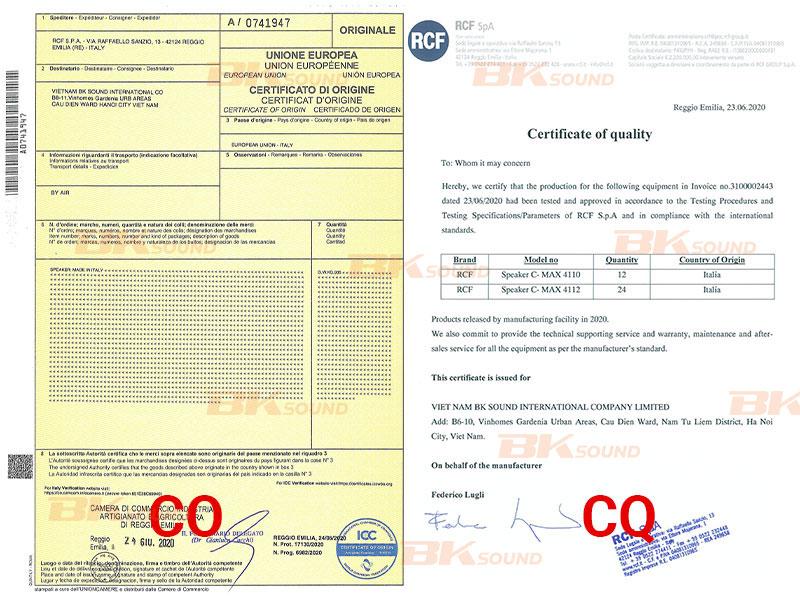 Chứng nhận nhập khẩu CO, CQ loa rcf