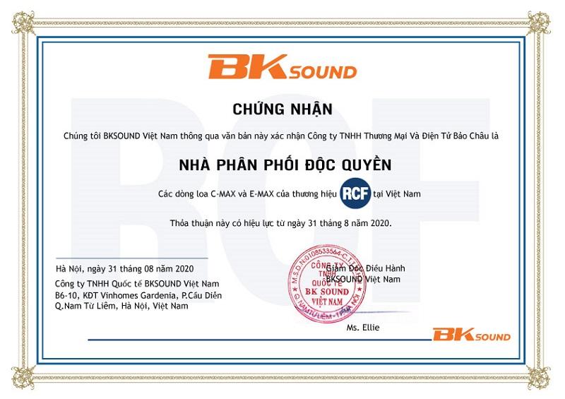 Chứng nhận BKSound cho RCF