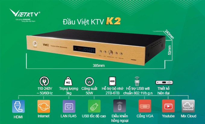 Đầu karaoke Việt KTV K2 4TB chính hãng giá rẻ