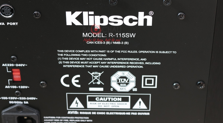Loa sub Klipsch R115SW mặt sau 3