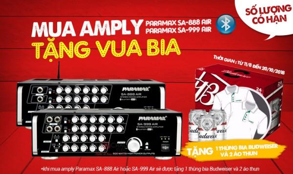 Mua Amply Paramax Air New tặng ngay Vua Bia và áo thun sành điệu