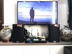 Bộ dàn karaoke của gia đình anh Hoàng ở chung cư An Bình- Hà Nội (Alto TS308, Yamaha NS-SW100, FX-9MK, BCE UGX12)